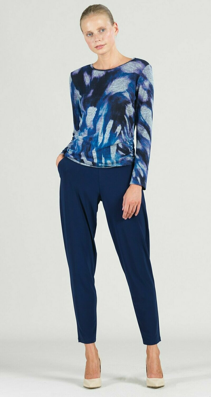 Cozy Multi Brush Print Side Ruched Sweater Top