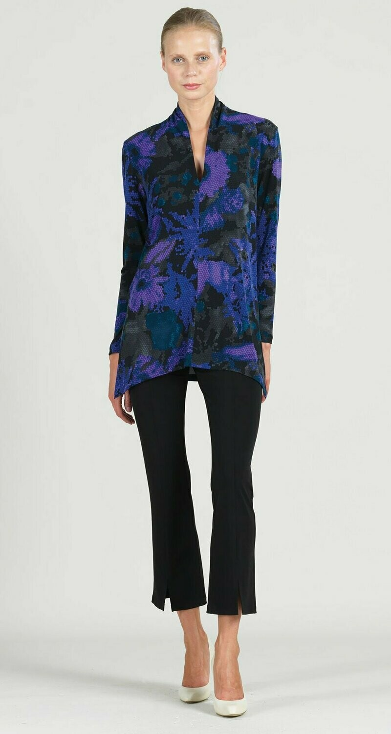 Purple Mosaic Print Narrow V-Neck Side Vent Tunic