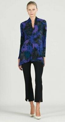 Purple Mosaic Print Narrow V-Neck Side Vent Tunic