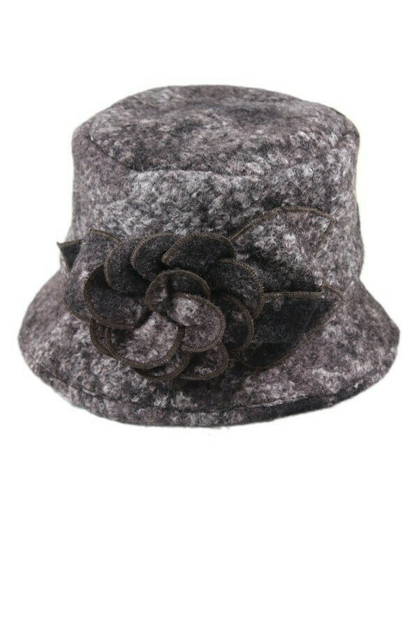 Boiled Wool Winter Floral Bucket Hat