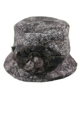 Boiled Wool Winter Floral Bucket Hat