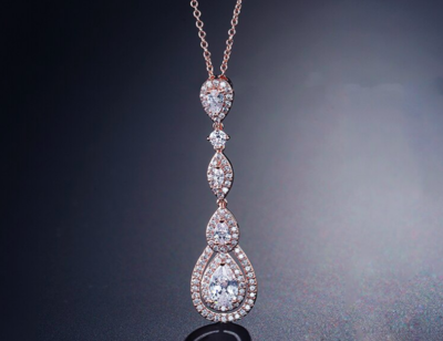 Spectacular Halo Multiple Drop Pendant Necklace