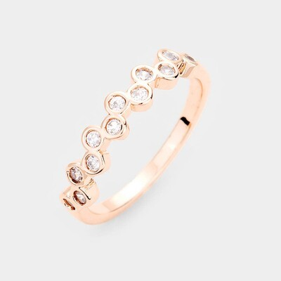 Gold Plated Round Bubble CZ Ring