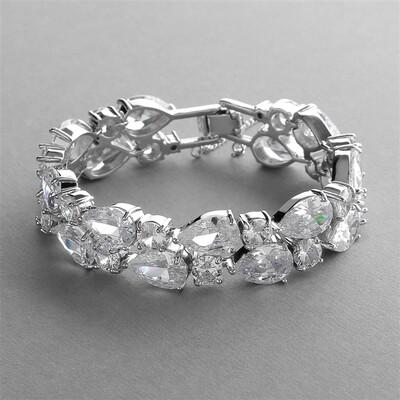 Bold AAA Cubic Zirconia Silver Statement Bracelet
