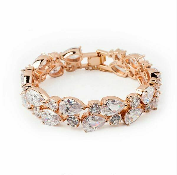 Bold Cubic Zirconia Rose Gold Statement Bracelet