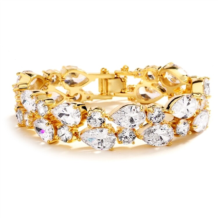 14K Gold Plated Cubic Zirconia Statement Bracelet