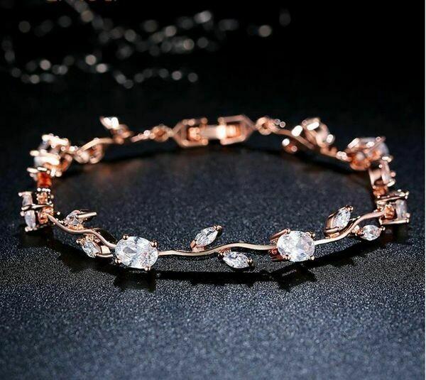 Rose Gold Vine AAA Cubic Zirconia Bracelet