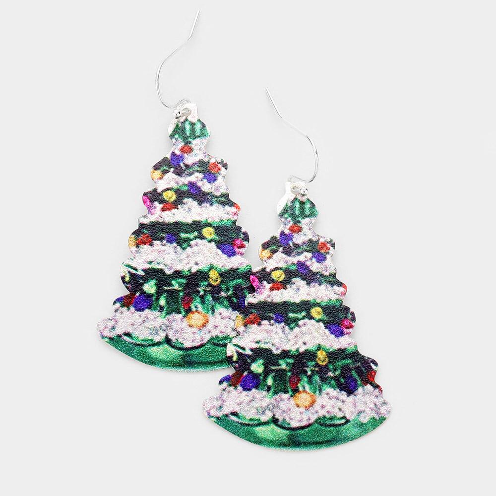 Christmas Tree Print Metal Earrings