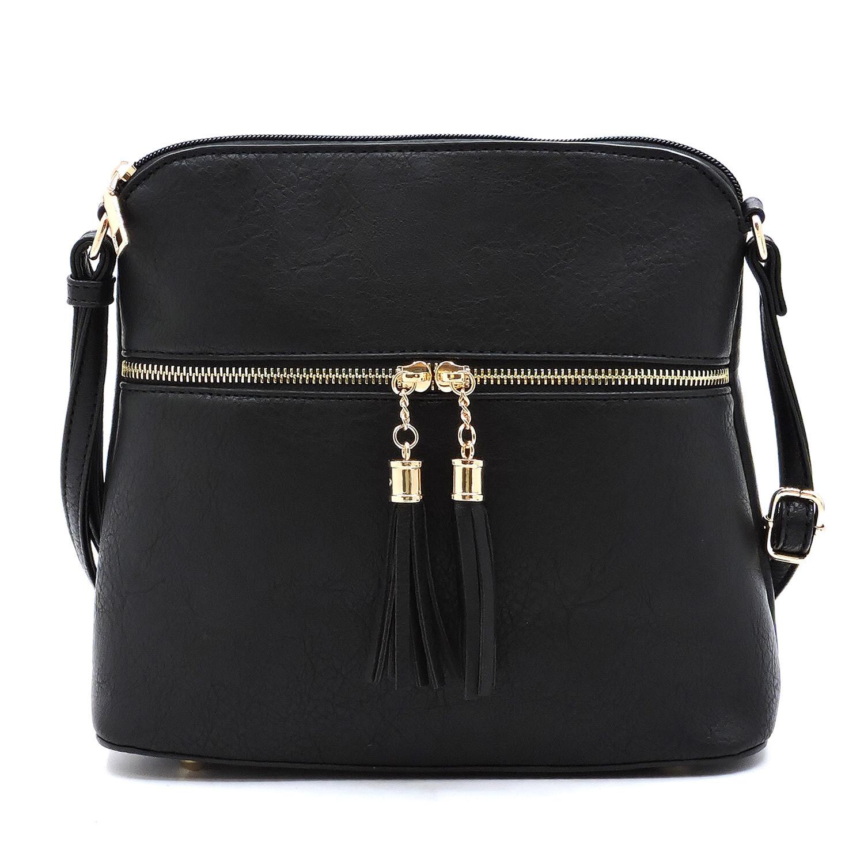 Fashion Tassel Zip Dome Crossbody Bag