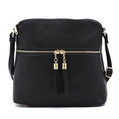 Fashion Tassel Zip Dome Crossbody Bag