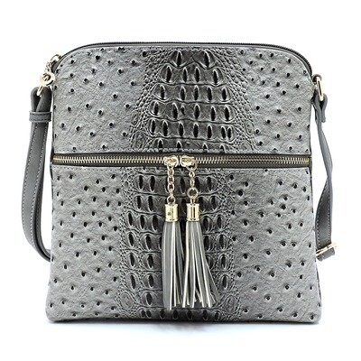 Ostrich Croc Zip Tassel Crossbody Bag