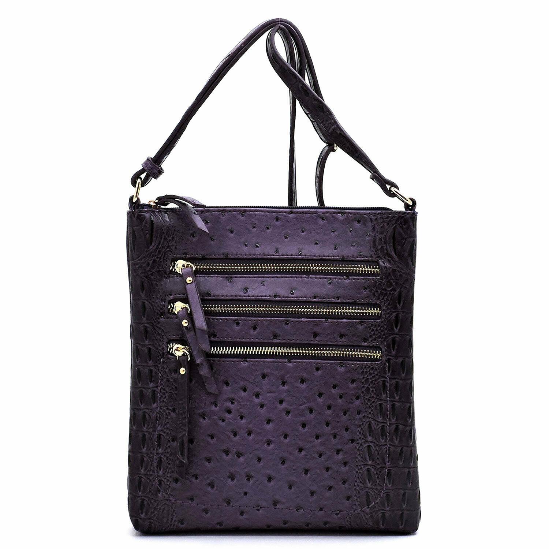 Ostrich Croc Multi Zipper Crossbody Bag