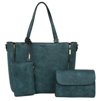Fashion Zipper 3-in-1 Shopper Handbag