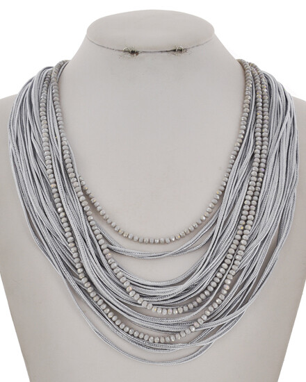 Grey Beaded Multi Cord Snap Closure Necklace