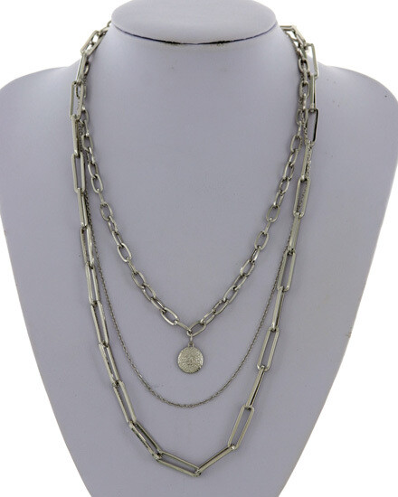 Designer Look Link Multi Strand Necklace