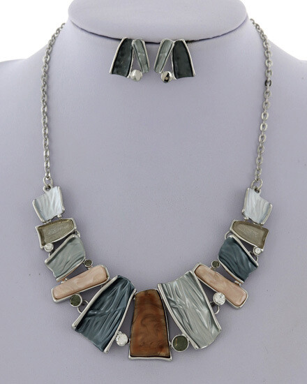 Burnished Silver Semi Precious Stone Warm Tone Set