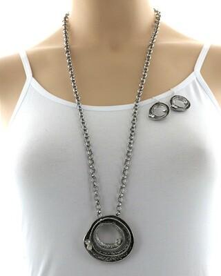 Long Silver Chain Round Pendant Semi Precious Set