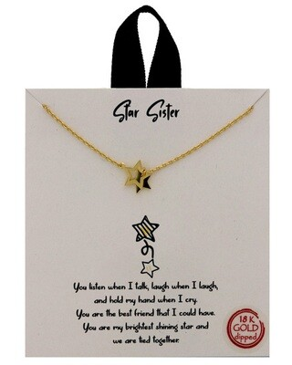 Gold Dipped Star Sister Message Necklace