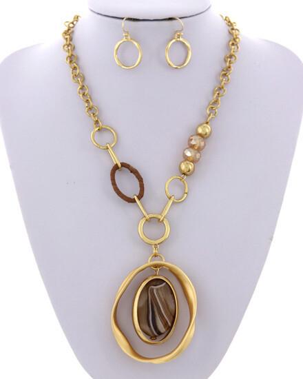 Matt Gold Brown Topaz Abstract Necklace Set