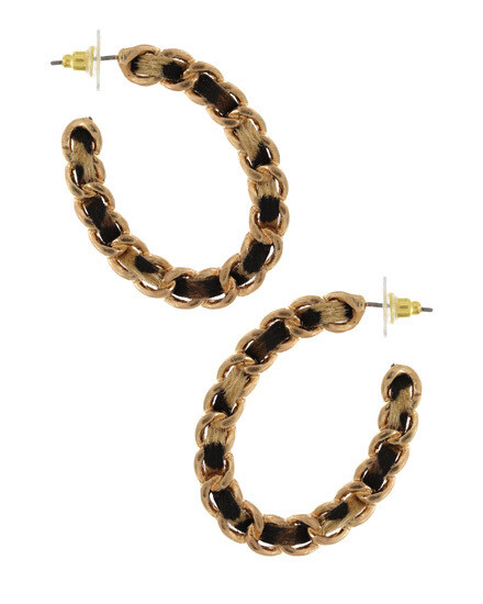 Gold Oval Hoops Animal Leatherette Weave Earring