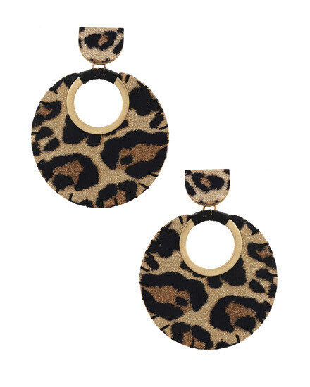 Gold Round Leopard Faux Leather Earring