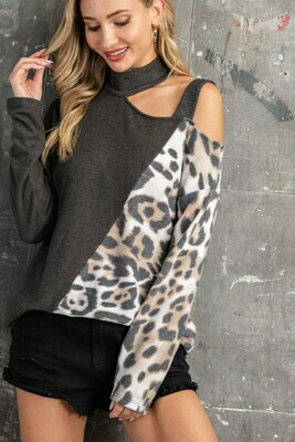 Solid/Animal Print Mock Strappy Casual Top