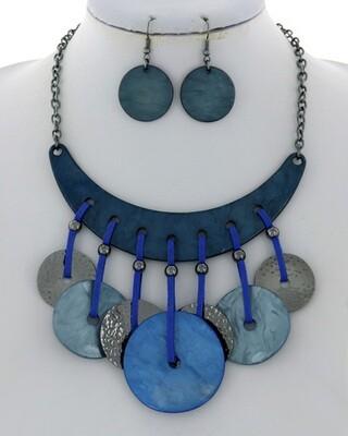 Blue Leatherette Hematite Bead Unique Set