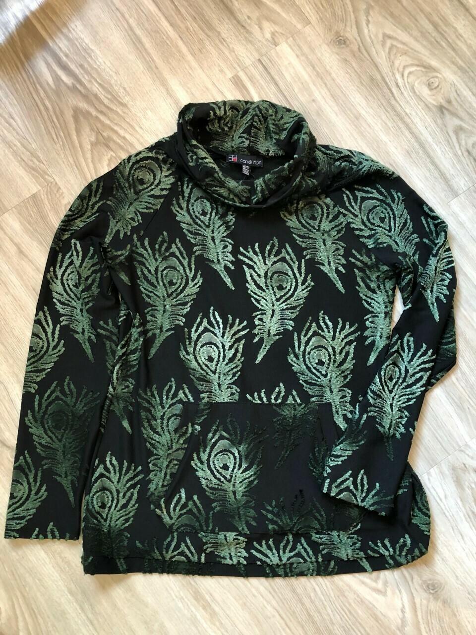 Black Cowl Neck Emerald Green Raised Print Top