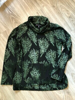 Black Cowl Neck Emerald Green Raised Print Top