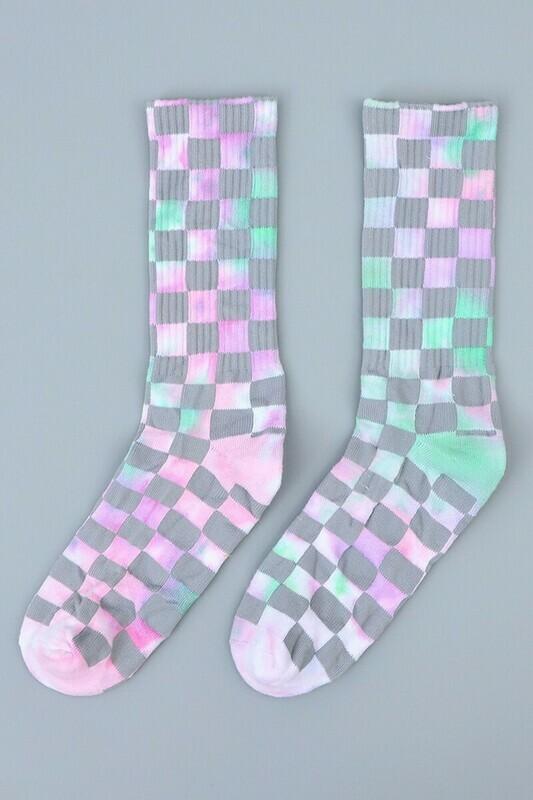 Plaid Pattern Tie Dyed Fashion Socks