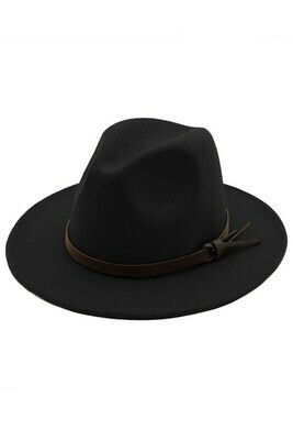 Fabric Faux Leather Accented Panama Hat