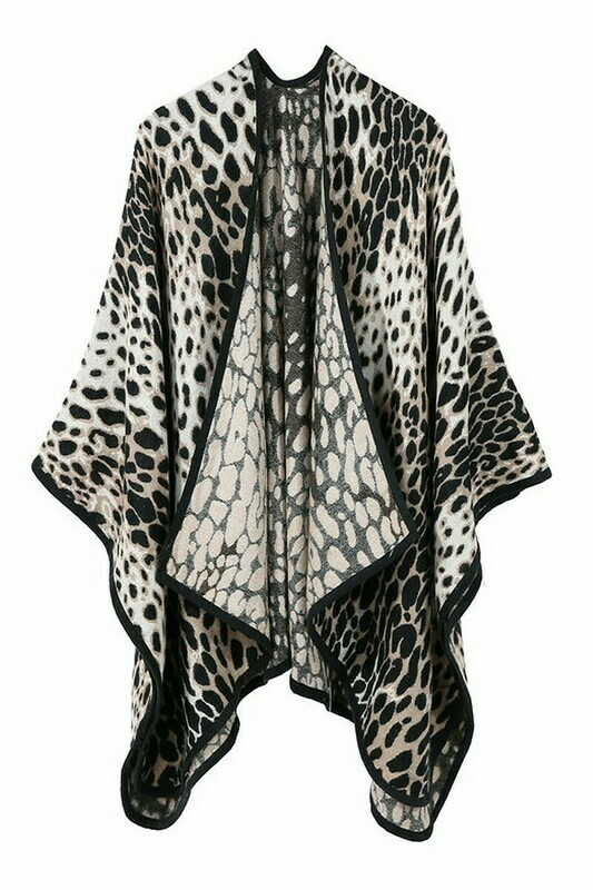 Leopard Black Trimmed Ruana Wrap