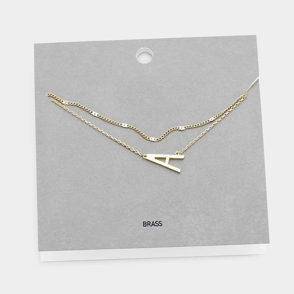 Gold Tone Monogram Brass Metal Necklace