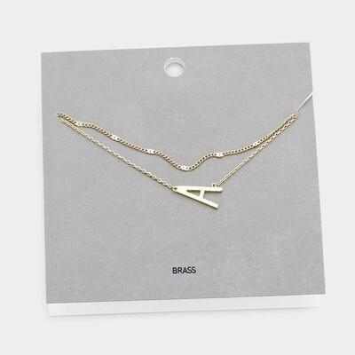 Gold Tone Monogram Brass Metal Necklace