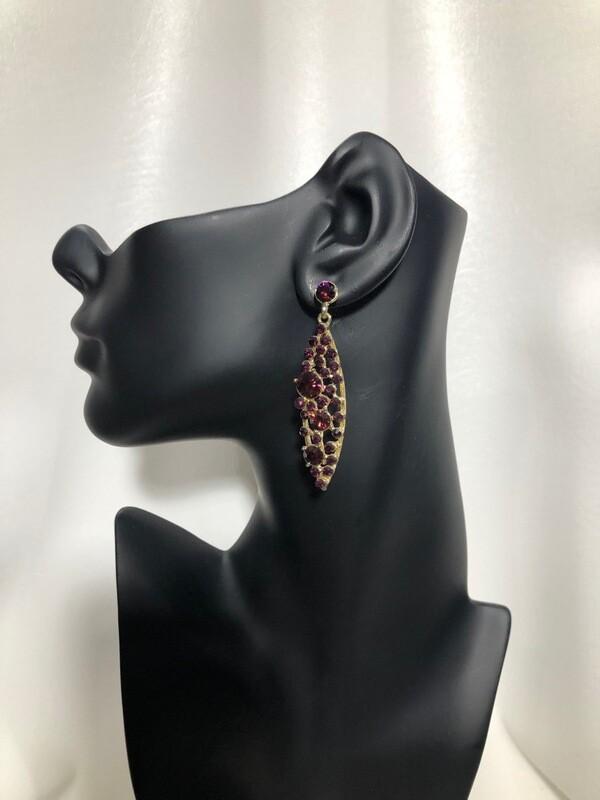 Vintage Gold Purple Crystal Bubble Earrings