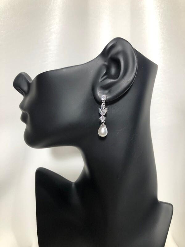 Leaf Marquis Dangle Pearl Earring
