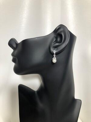 Delicate Pearl Drop CZ Earring