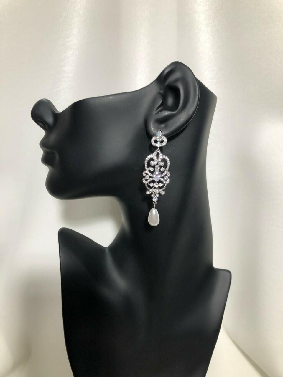 Vintage Scroll Middle Pear Drop Chandelier Earring
