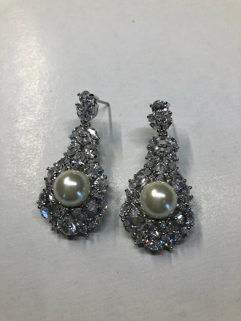 Spectacular Margaret Pearl CZ Earrings