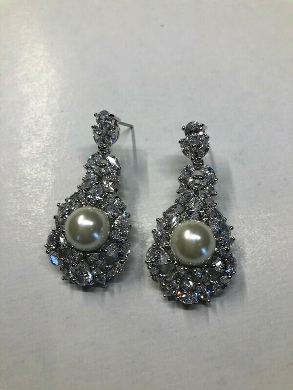 Spectacular Margaret Pearl CZ Earrings
