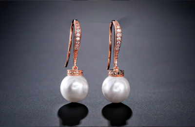 Delicate Pave Bar Pearl Drop Earring