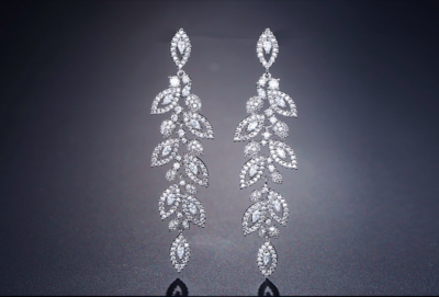 Pave Cubic Zirconia Leaf Drop Formal Earring