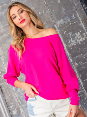Hot Pink Ribbed Sweater