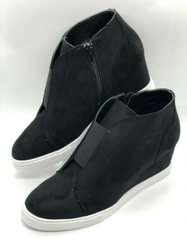Black Faux Suede Wedge Sneaker