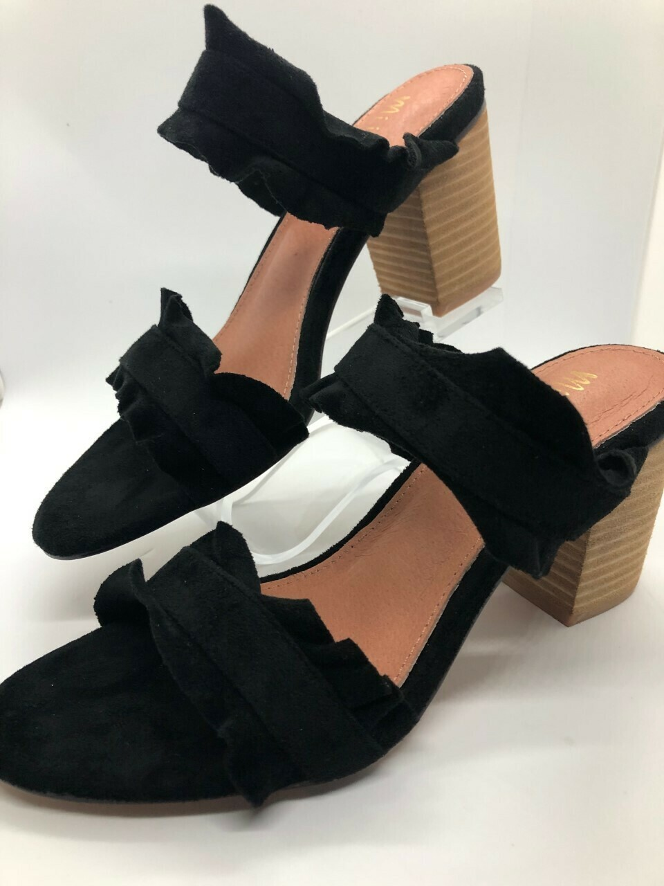Black Leather Ruffle Block Heel Shoe