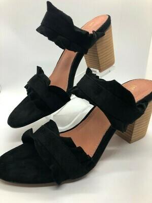 Black Leather Ruffle Block Heel Shoe