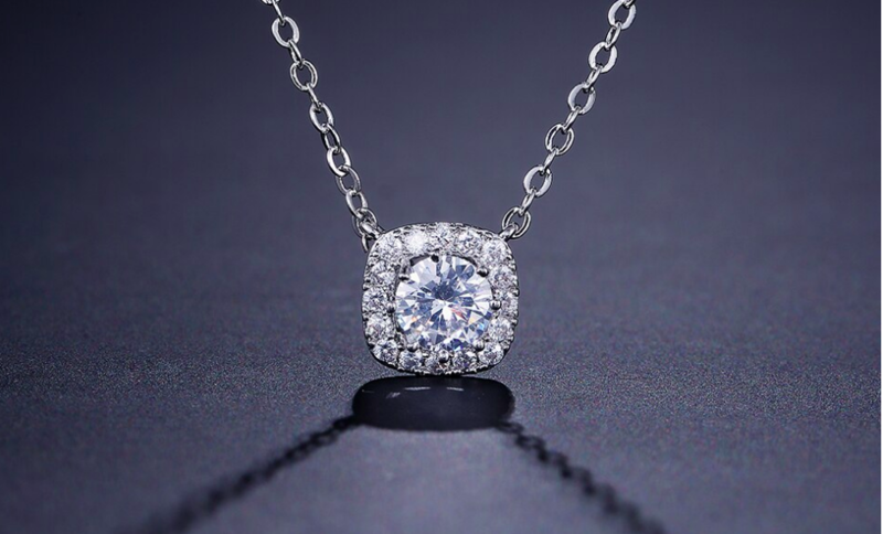 Heirloom Look Square Halo Set CZ Pendant Necklace