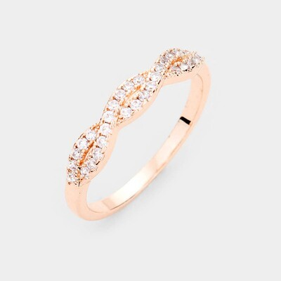 Rose Gold Plated CZ Braided Delicate Ring