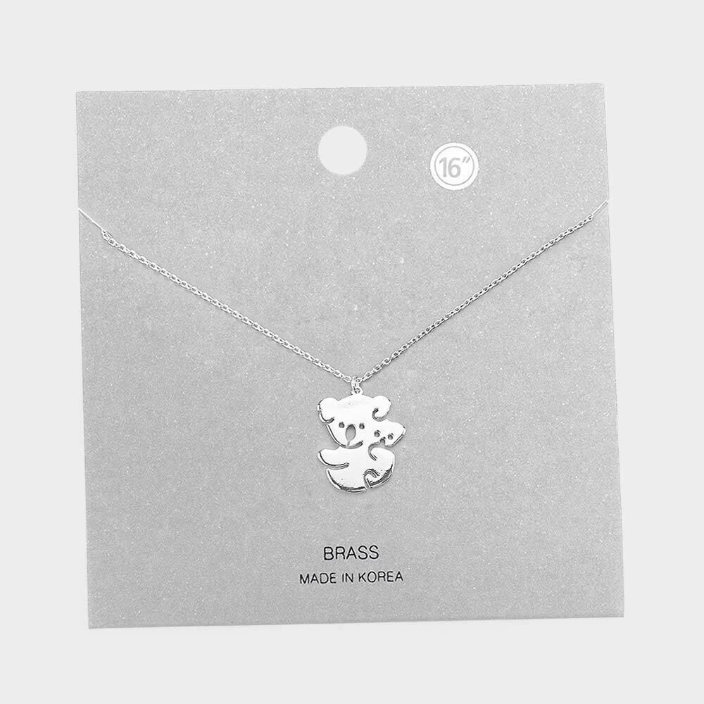 Brass Metal Mama Koala Pendant Necklace