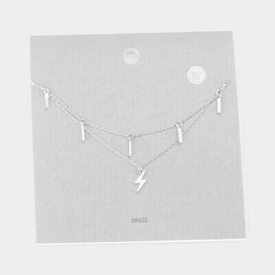 Double Layered Brass Metal Bar Lightning Pendant Necklace